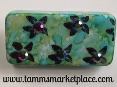 Flower Stamped & Jeweled Domino Pin with inked background MKP076