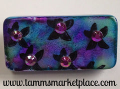 Flower Stamped & Jeweled Domino Pin with alcohol ink background MKP079