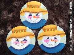 Hand Painted Snowman Metal Pin MKP080
