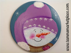Hand Painted Smiling Snowman Metal Pin MKP081D