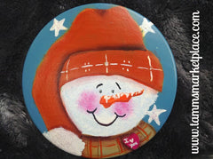 Hand Painted Smiling Snowman Metal Pin MKP081E