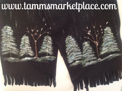 Black Fleece Hand Painted Winter Forest Snow Scene Scarf MKS001