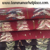 Maroon Fleece Hand Painted Winter Forest Snow Scene Scarf MKS002