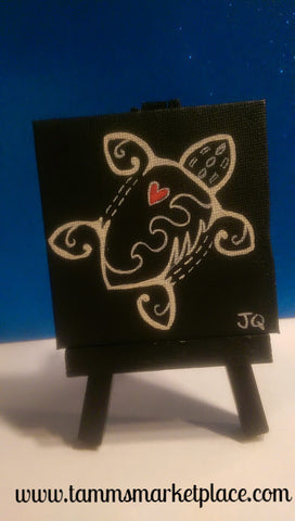 Hand Painted Turtle in Black & White on Mini Canvas w/Easel  QAC001