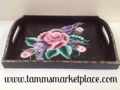 Hand Painted Serving Tray with Pink Roses and Purple Lilacs and Bright Green Leaves QAC002
