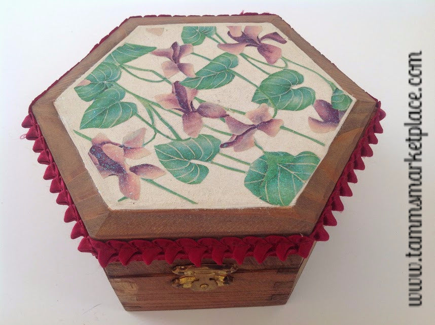 Wooden Hexagon Shaped Decoupage Flowered Box with Ribbon Accent QBX022
