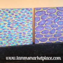 "Ceramic Tile Art -Eggplant Slices and Streaks of Color 8""x8"" QCT003"