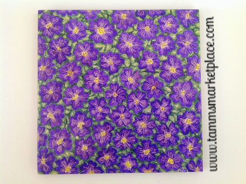 "Ceramic Tile Art - Purple Flowers 8"" x 8"" QCT004"