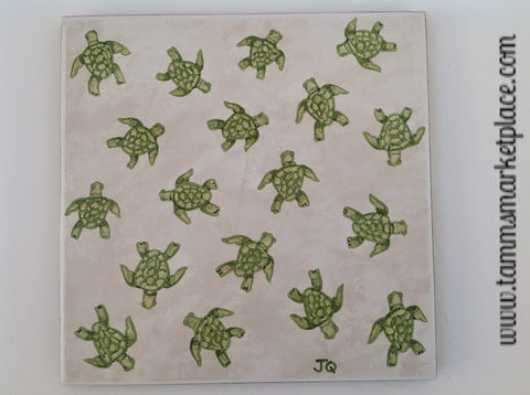 "Ceramic Tile Art - 18 Green Turtles 8"" x 8"" QCT005"