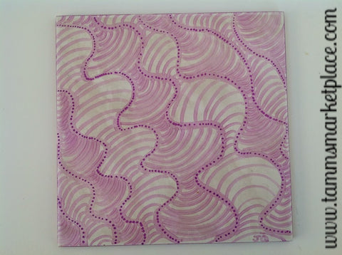 "Ceramic Tile Art - Pink Swirls 8"" x 8"" QCT006"