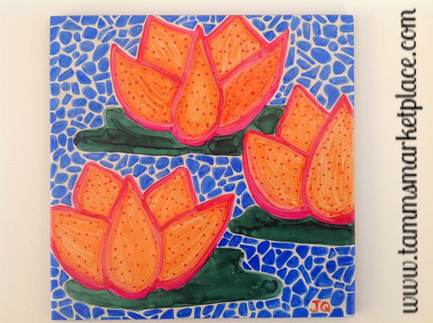 "Ceramic Tile Art - Orange Flowers with Blue Mosaic 8"" x 8"" QCT007"