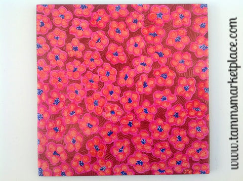 "Ceramic Tile Art - Red, Orange and Pink Flowers 8"" x 8""  QCT008"