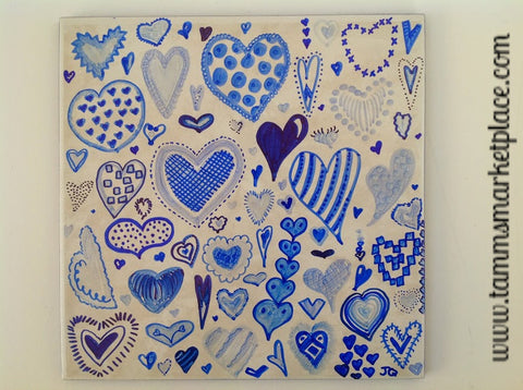 "Ceramic Tile Art - Blue Hearts 8"" x 8"" QCT009"