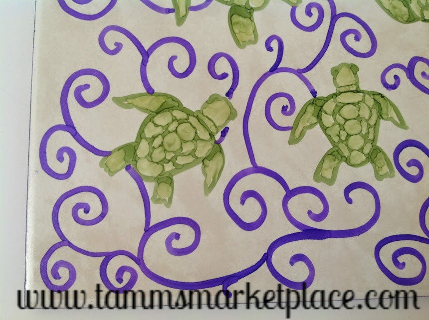 Ceramic Tile Art 8 Turtles In Purple Swirls 8 X 8 Qct011