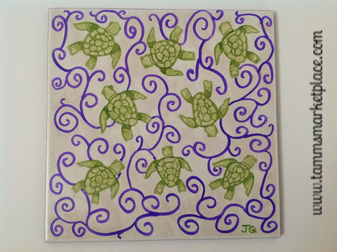 "Ceramic Tile Art - 8 Turtles in Purple Swirls 8"" x 8"" QCT011"