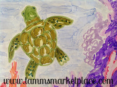 "Ceramic Tile Art - Turtle Under The Sea 8"" x 8"" QCT012"