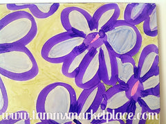 "Ceramic Tile Art - Purple Cartoon Flowers 8"" x 8"" QCT013"
