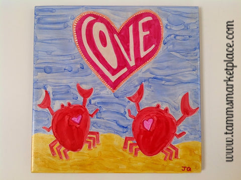 Ceramic Tile Art - Love Crabs 8 x 8 QCT016