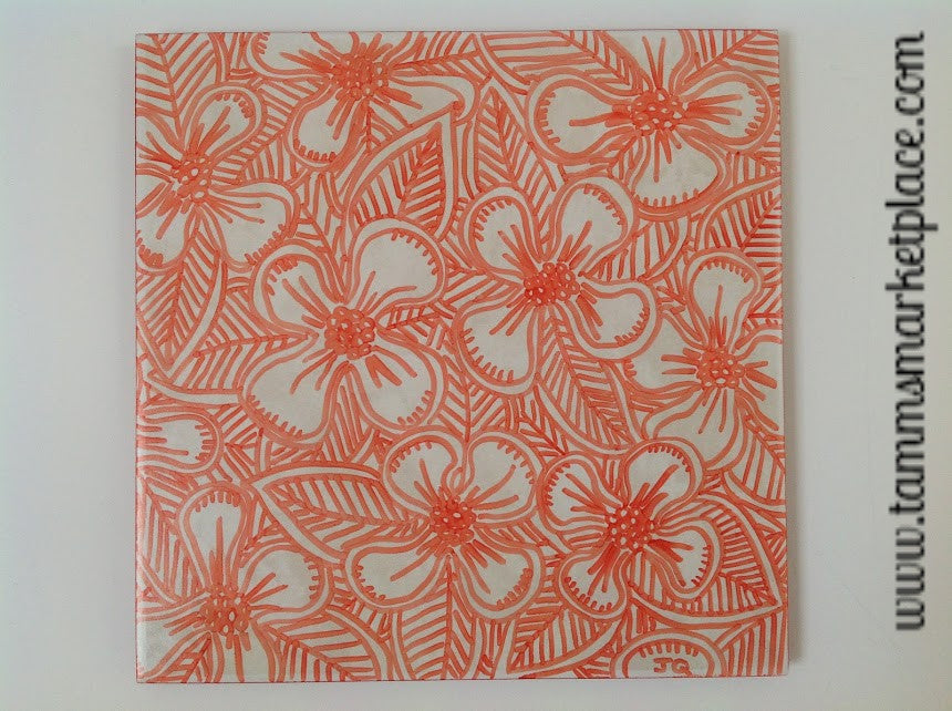 Ceramic Tile Art - Orange Hibiscus Flowers QCT017
