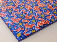 Ceramic Tile Art - Blue Flowers with Orange Mosaic Look QCT018