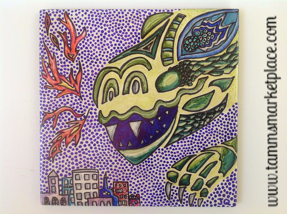 Ceramic Tile Art - Dragon with City QCT019