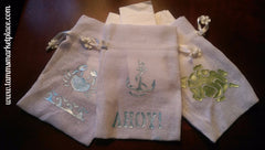 Ocean Themed Fabric Gift Bag Set of 3 with Turtle, Crab, Anchor, Waves & AHOY! QGB001