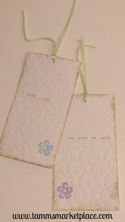 "Paper Gift Tag Set of 2 ""You make me smile"" & ""i enjoy you"" Messages QGT004"