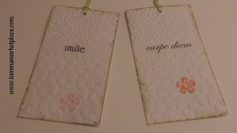 "Paper Gift Tag Set of 2 ""smile"" & ""carpe diem"" Messages QGT005"