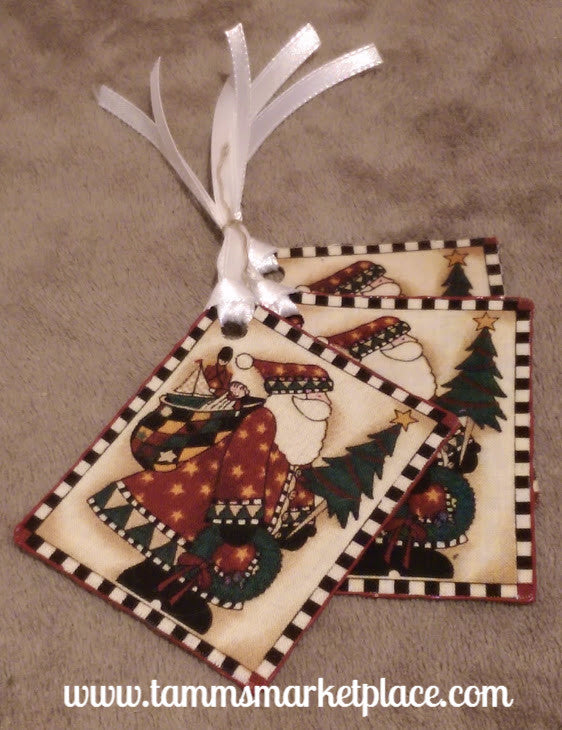 "Gift Tag Set of 3 w/Fabric Santa Patch & White Ribbon. ""Happy Christmas"" Stamped on Back QGT006"