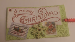 Postage Themed Mixed Media Art Christmas Gift Tags with Real Postage Stamps QGT007