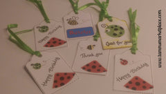 "Paper Gift Tag Set of 6 Bug ""Just For You"", ""Happy Birthday"" and ""Thank You"" QGT008"