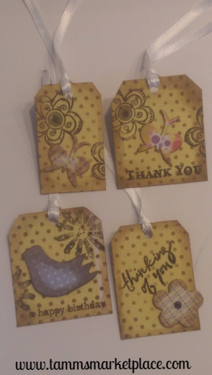 Paper Gift Tag Set of 4 Yellow Polka-dotted Bird, Butterflies and Flowers QGT009