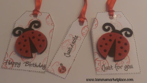 "Paper Gift Tag Set of 3 Ladybug ""Just For You"", ""Happy Birthday"" and ""Just A Note"" QGT010"