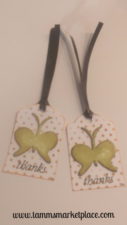 "Paper Gift Tag ""Thanks"" Set of 2 Polka Dotted Butterflies on Polka Dotted Background QGT014"