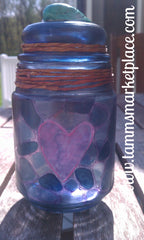 Decorated Jar with Turquoise shell and ceramic notepad charm QJA001