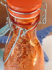 Orange Bottle with Doodles and Jute Twine QJA019