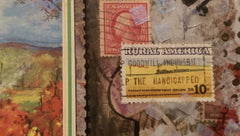 Postage Themed Mixed Media Art with Birch Trees, Buffalo and Real Postage Stamps QMM003