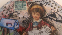 Postage Themed Mixed Media Art with Little Boy Delivering the Mail QMM004