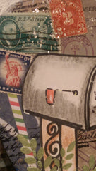 Postage Themed Mixed Media Art with Hand Drawn Mailbox and Real Postage Stamps QMM005