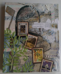 Postage Themed Mixed Media Art Mailbox with Real Postage Stamps QMM006