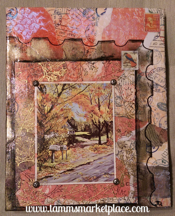 Postage Themed Mixed Media Art with Autumn Trees and Real Postage Stamps QMM007