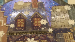 Postage Themed Mixed Media Art Ornament with Snowflakes & Hand Drawn Mailbox QMM009
