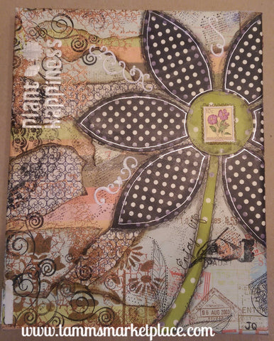 Postage Themed Mixed Media Art with Flower and Real Postage Stamps QMM010