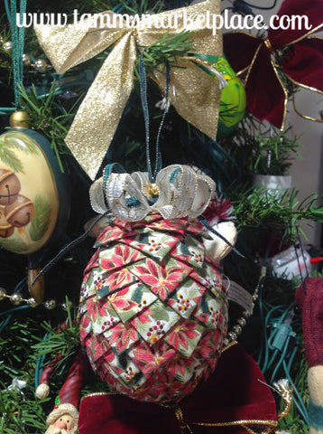 Pine Cone Ribbon Ornament QOR006