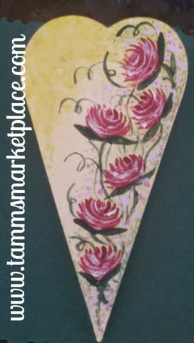 Wooden Heart Pin hand painted with Pink Roses on an Ivory Background QPI001