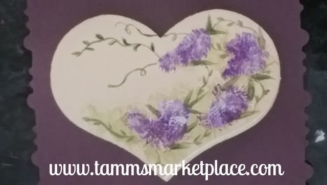 Wooden Heart Pin hand painted with Purple Lilacs on an Ivory Background QPI003