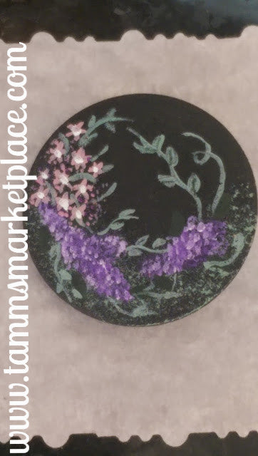 Wooden Circle Pin hand painted withPurple Lilacs on a black background QPI005