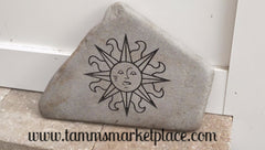 Engraved Blue Stone with Sun Smiling BST001