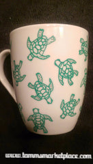 Set of 2 Hand Drawn Turtle Mugs QJA020