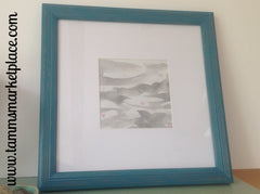 "Grey Waves Original Watercolor Painting 11""x11"" Framed in Turquoise QWA033"